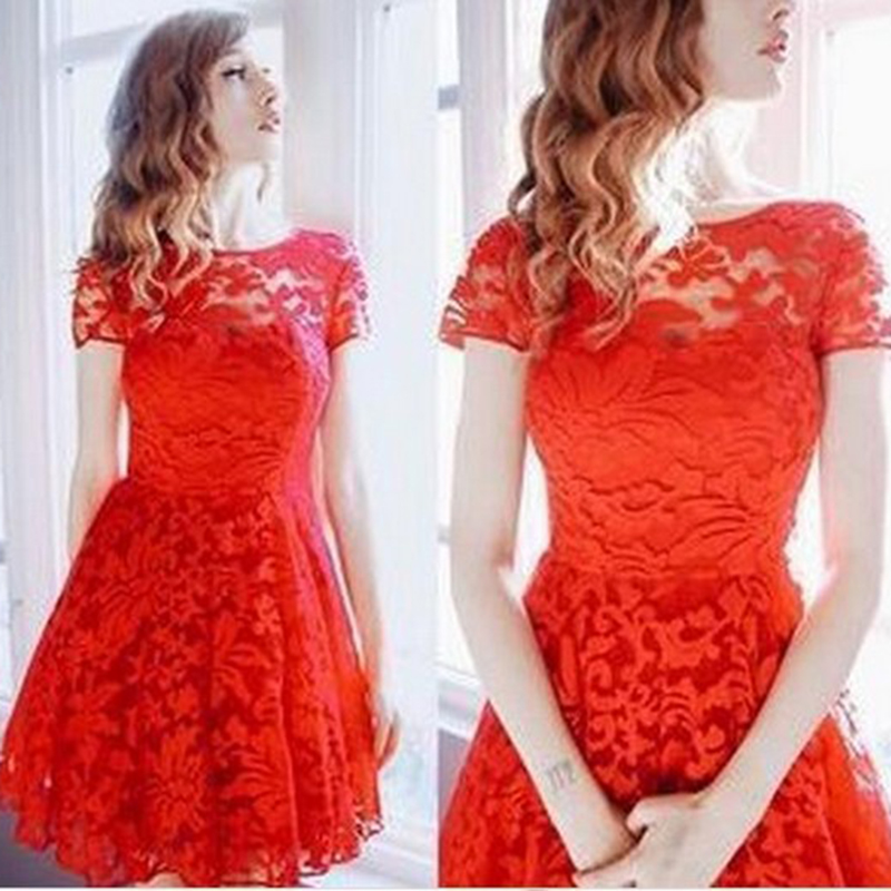 Women Floral Lace Dresses Short Sleeve Sexy Lace Party Casual Dress Blue Red Black Mini Dress Vestidos Plus Size 5XL Dresses