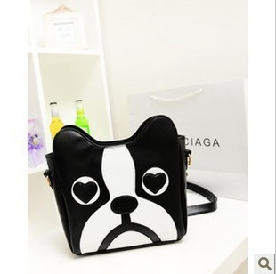 Free shipping Woman Cute Cartoon Dog Head Shoulder bag PU leather casual Crossbody Bag Mini Personalized Handbag tote bag