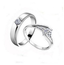 Free shipping MSF 925 sterling silver & high quality zircon crystal platinum plated lover`s wedding band couple rings