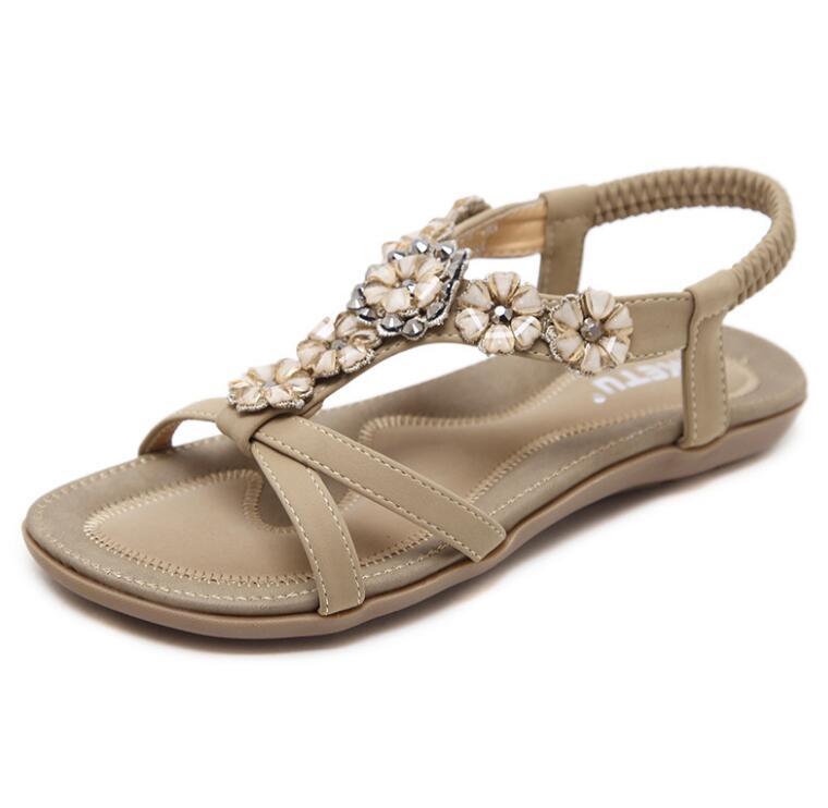 Summer Shoes Women Bohemia Ethnic Flip Flops Soft Flat Sandals Woman Casual Comfortable Plus Size Wedge Sandals 35-45