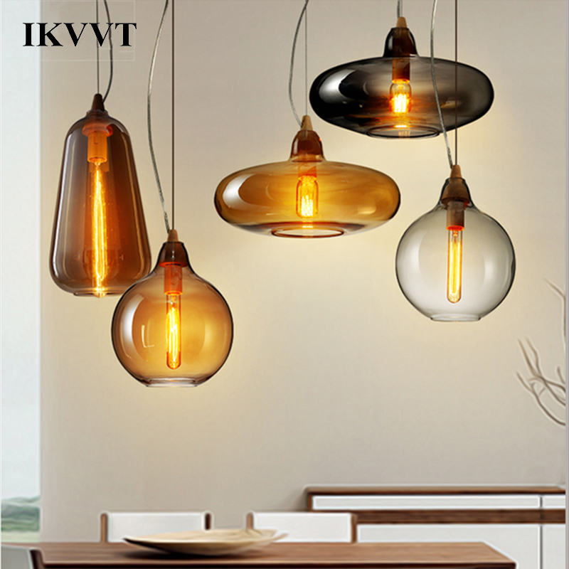 IKVVT Modern Simple Shape A B C Glass Pendant Lights With Wood White Glass Lighting for Dining Room Restaurant E27 Pendant Light in Pendant Lights from Lights Lighting