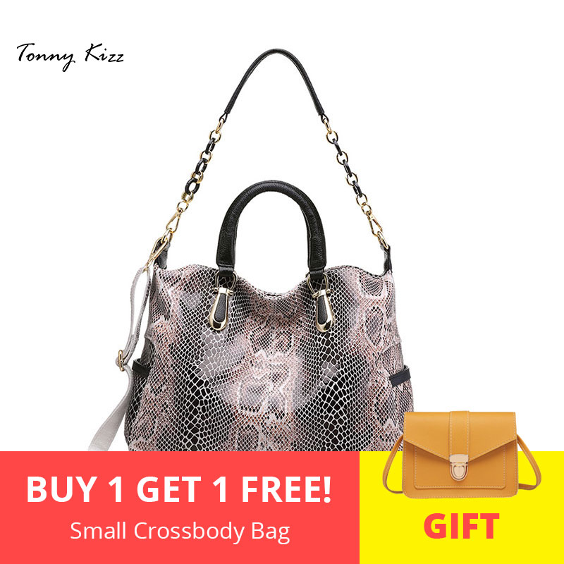 Tonny Kizz casual tote bags for women large shoulder bags genuine leather luxury handbags with serpentine women bags designerTonny Kizz casual tote bags for women large shoulder bags genuine leather luxury handbags with serpentine women bags designer