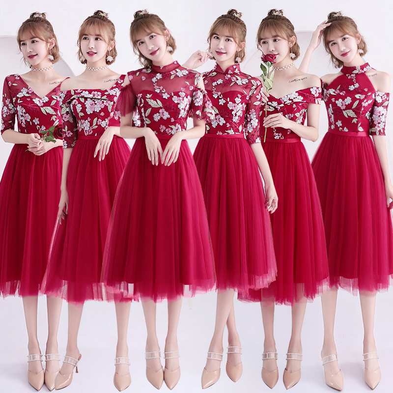 Beauty Emily A Line Lace Red Bridesmaid Dresses 2019 Short For Women Plus Size Wedding Party Prom Women Dresses