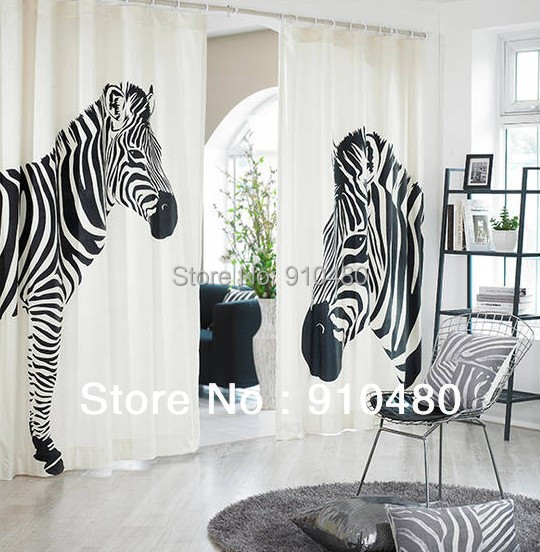 Korean Zebra curtains cotton linen curtain white window curtain zebra print  curtain width 135cm * height ...