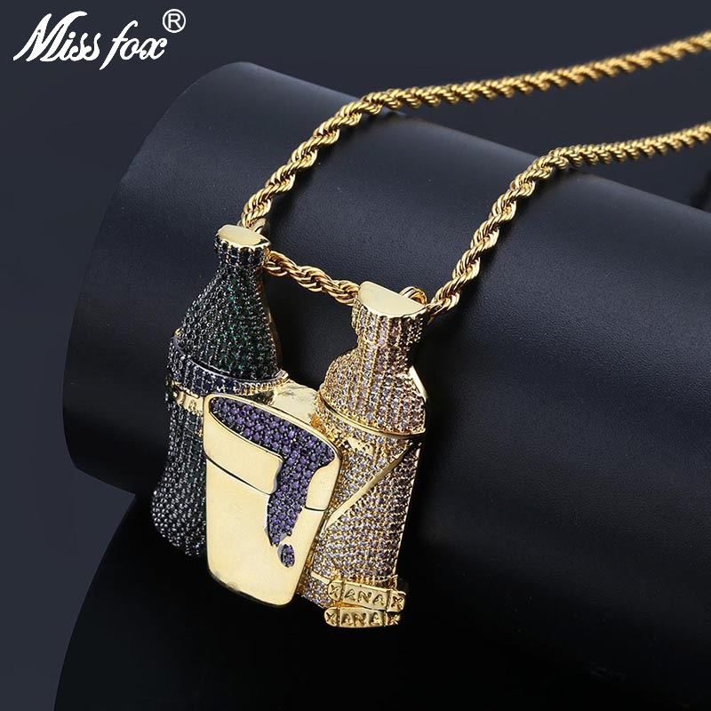 MISSFOX Hip Hop Beer Bottle Men Necklace Pendant 24K Gold Plated AAA Blue Purple Pure Cubic Zirconia Long Neclace Chain