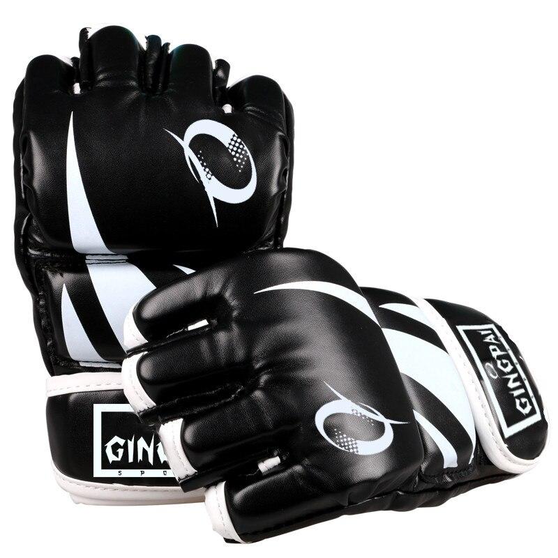 Demi finger PU en cuir adulte pro style MMA gants Formation de Combat Sparring Gants Arts Martiaux muay thai kick boxing gants