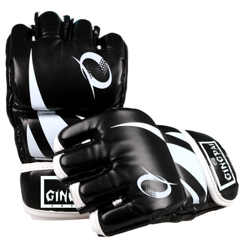 Half finger PU leather adult pro style MMA gloves Training Fighting Sparring Gloves Martial Arts muay thai kick boxing gloves gloves boxing gloves bessky® cool mma muay thai training punching bag half mitts sparring boxing gloves gym