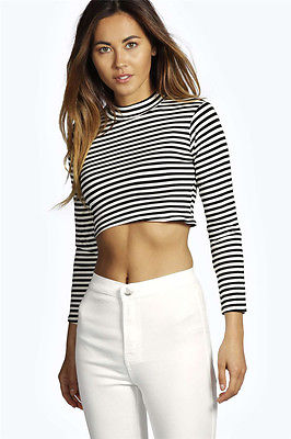 b7ef446df34 NEW CUTE BLACK WHITE STRIPED CROP TOP LONG SLEEVE HIGH NECK BUSTIER SHIRT  BLOUSE-in Blouses & Shirts from Women's Clothing on Aliexpress.com |  Alibaba Group