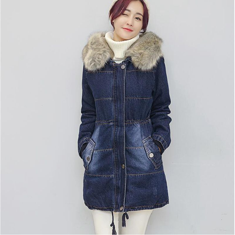 2017 Women Winter Jeans Jacket Hooded Thick Warm Medium long Parkas New Long sleeve Slim Big yards Female Cowboy Coat LADIES226 women winter parkas 2017 new fashion hooded thick warm patchwork color short jacket long sleeve slim big yards coat ladies210