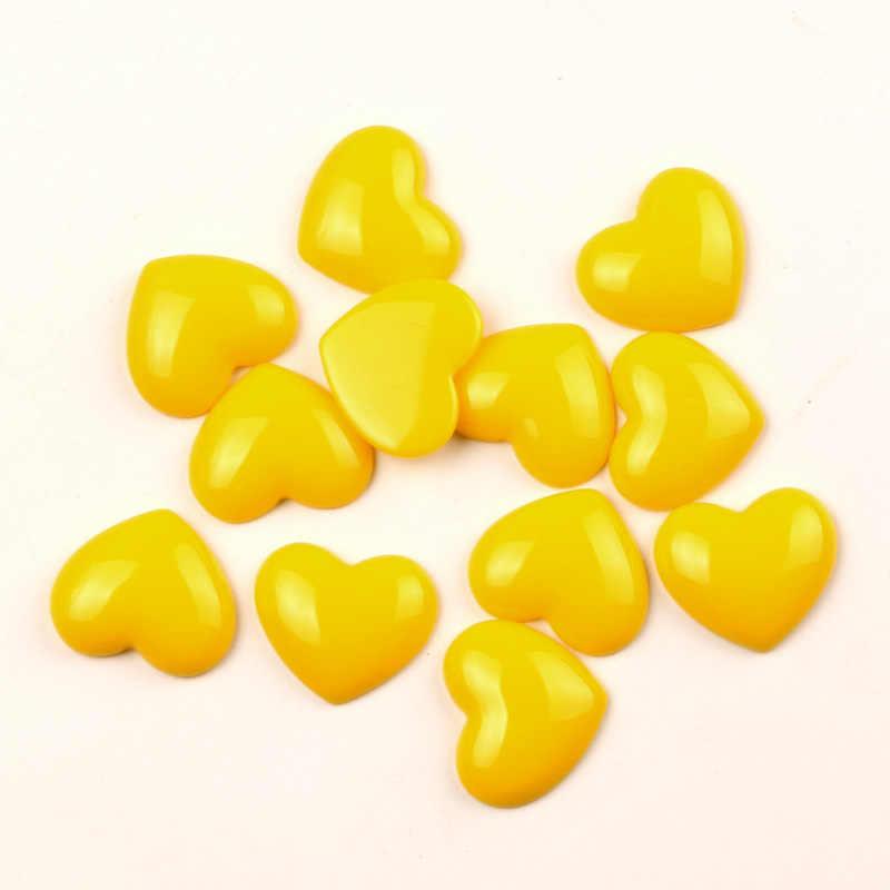 30 יחידות מעורב שרף צהוב לב קישוט מלאכות חרוזים Flatback קרושון Scrapbook DIY קישוטים אביזרי כפתורים