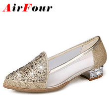 ENMAYER  Special fabrics hot drilling and Gauze beautiful flats slip-on basic shoes for ladies gold silver solid women