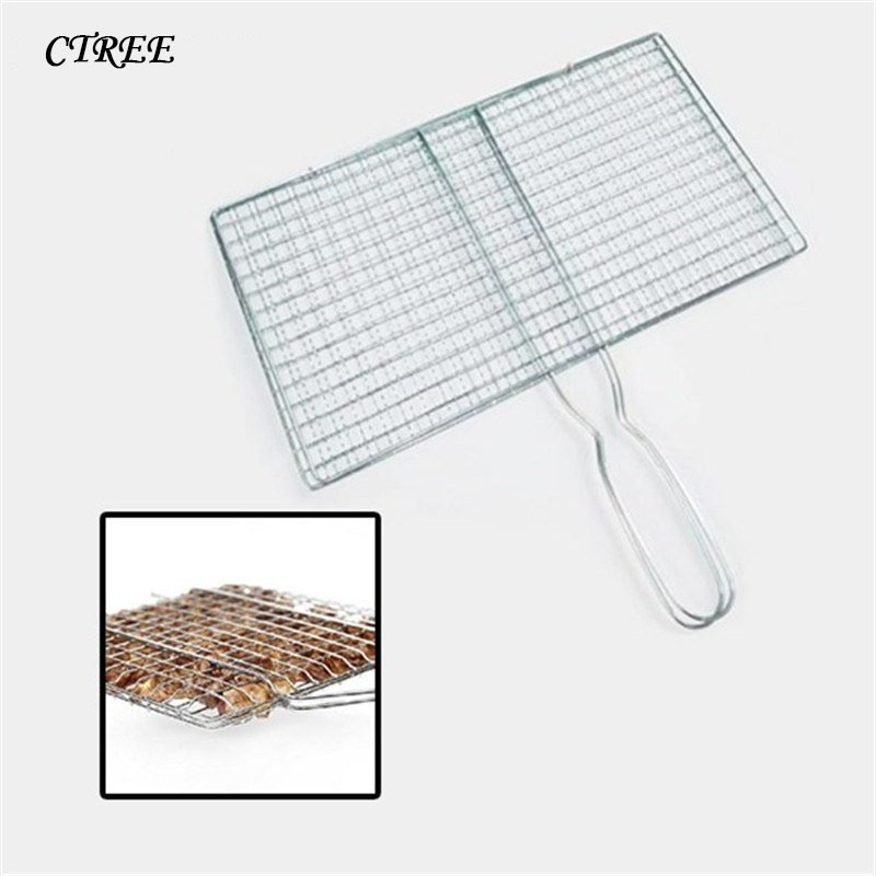 CTREE 1Pcs Handle Barbecue Net BBQ Stainless Grilling Meshes Clip Meat Fish Vegetable Grill Net Tools For Outdoor BBQ Party C404