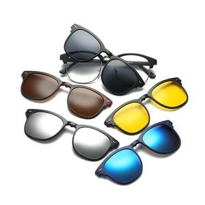 Image 2 - 새로운 브랜드 5 + 1 레트로 편광 된 근시 클립 선글라스 안경 프레임 남성 여성 5 자석 세트 미러 안경 프레임 남성