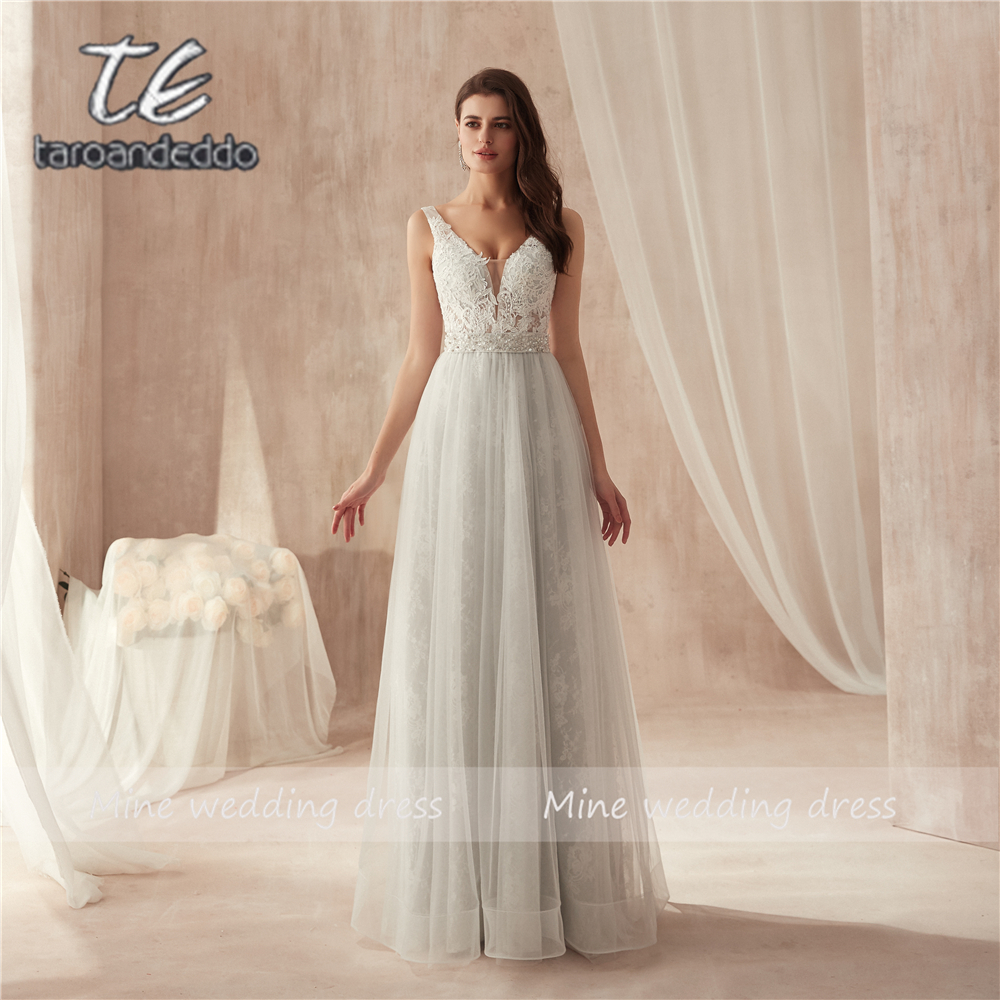 Sleeveless Grey   Prom     Dresses   Beading Belt Lace and Tulle Floor Length Evening   Dress   Fit for Party Formal Gowns