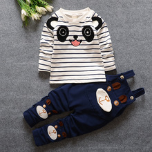 baby boy and girl clothing set Kids 2016 new spring and autumn cute fashion braces t-shirt pants two-pieces set for 0-4years old
