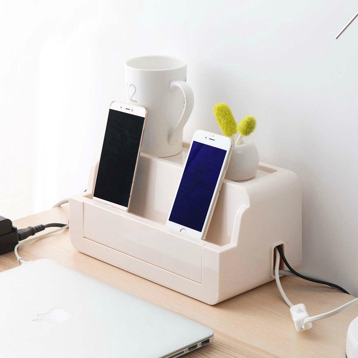 Boîte de rangement de fil de prise cordon d'alimentation boîte de finition prise de bureau contrôleur de fil boîte de câble fixe