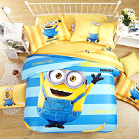 2016 NEW 100% cotton Cartoon 3D Bedding Set Minions Printed for Kids Cotton Bed Linen Duvet Cover set king Twin queen size