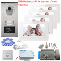 Home Video Door Phone Rfid Camera Doorbell 4 Color Monitors 7 Videophone Video Goalkeeper With Electronic