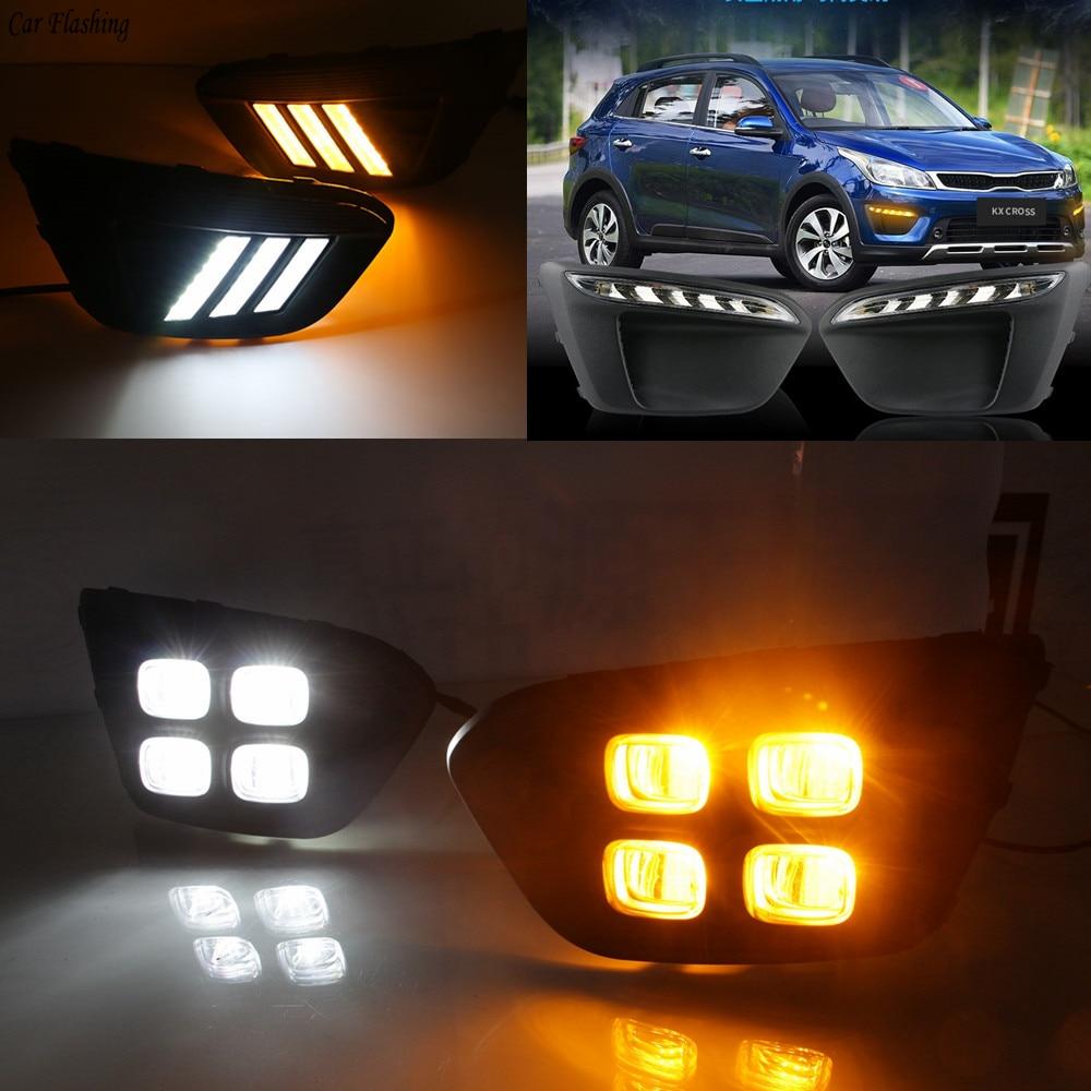 Car flashing 1Pair Super Bright Car LED With Turn Signal For Russia KIA RIO X Line