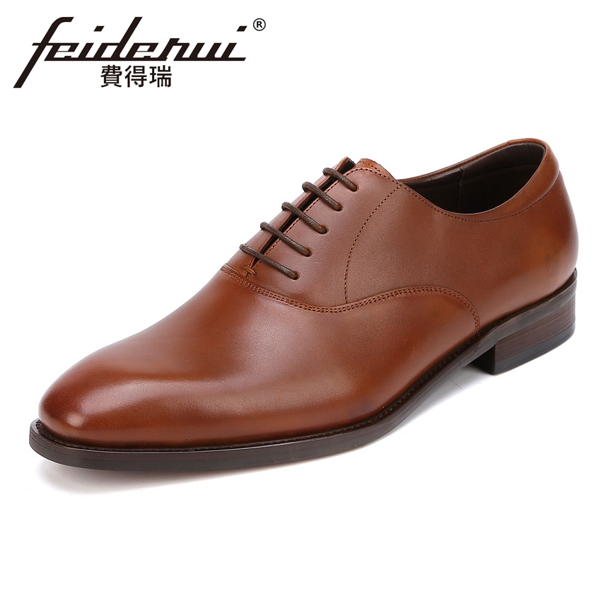 Luxury Genuine Leather Men's Handmade Office Oxfords British Designer Round Toe Man Formal Dress Wedding Brogue Shoes YMX434 men luxury crocodile style genuine leather shoes casual business office wedding dress point toe handmade brogue footwear oxfords page 4 page 5 page 1