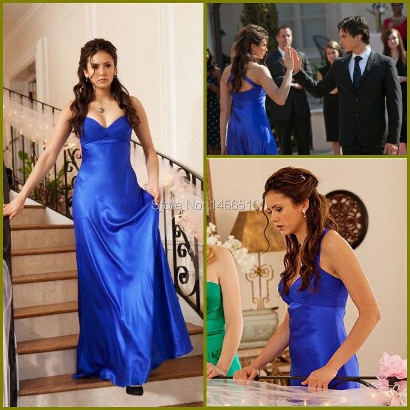 10136 W 2016 nuevo amor plisados del azul real de Nina Dobrev vestido de fiesta en