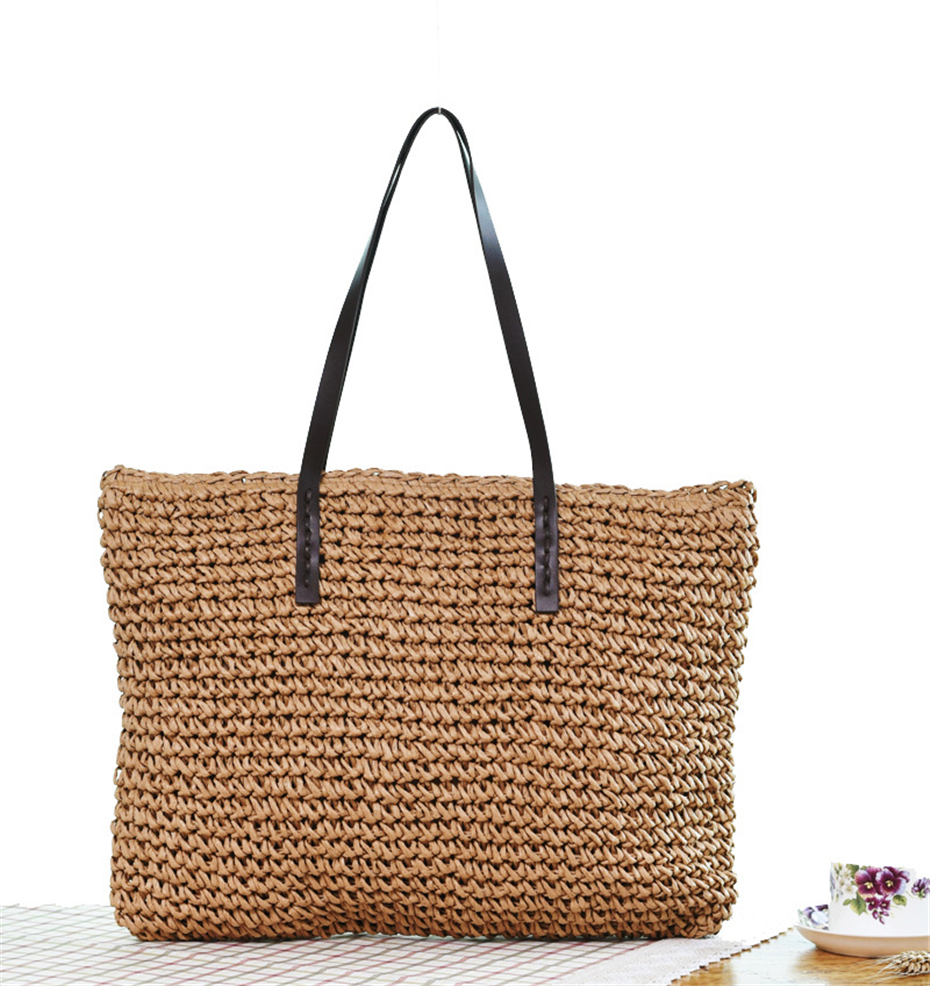 Women Handbag Summer Beach Bag Rattan Woven Handmade Knitted Straw Large Capacity Totes Leather Women Shoulder Bag Bohemia New 16