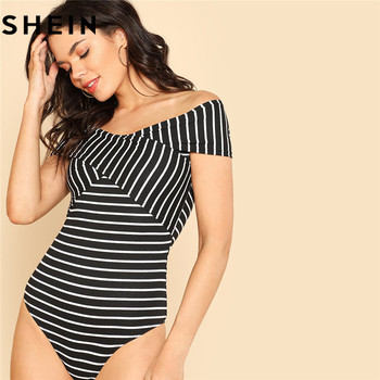 Striped Off Shoulder Crisscross Front Strip Ribbed Bodysuit