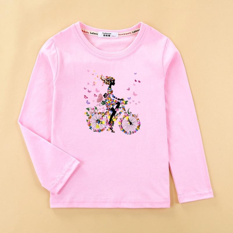 Girls funny t-shirt  flower-girl & fruit bike clothes child long sleeved tshirt 100% cotton tops tee baby girl 1