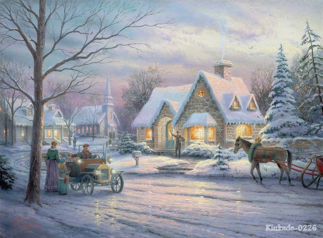 Thomas Kinkade Prints Of Oil Painting Memories Of Christmas Snow Scenery Painting Office Home