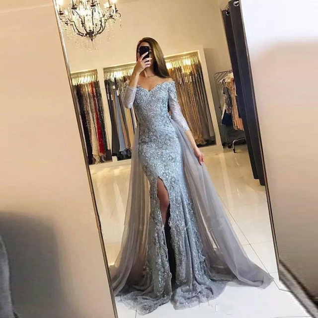 2018 Lace Evening Gowns With Overskirt Sheer V Neck Floor Length Appliques Lace Gray Formal Dresses Elegant Vestidos