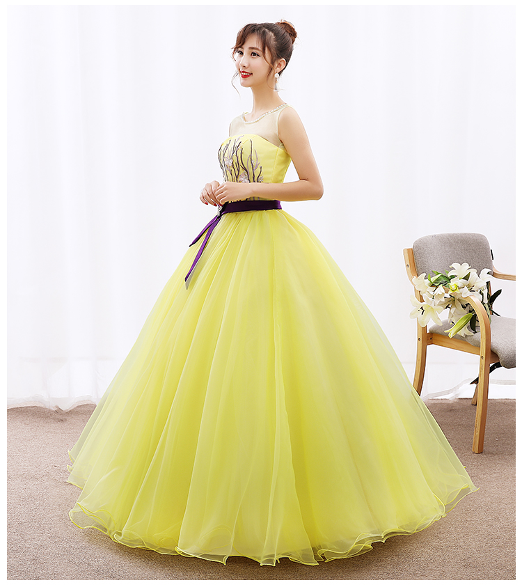 Custom Bright yellow tulle Appliques O neck Long Evening Dresses The Bride Sleeveless ribbon belt Beading