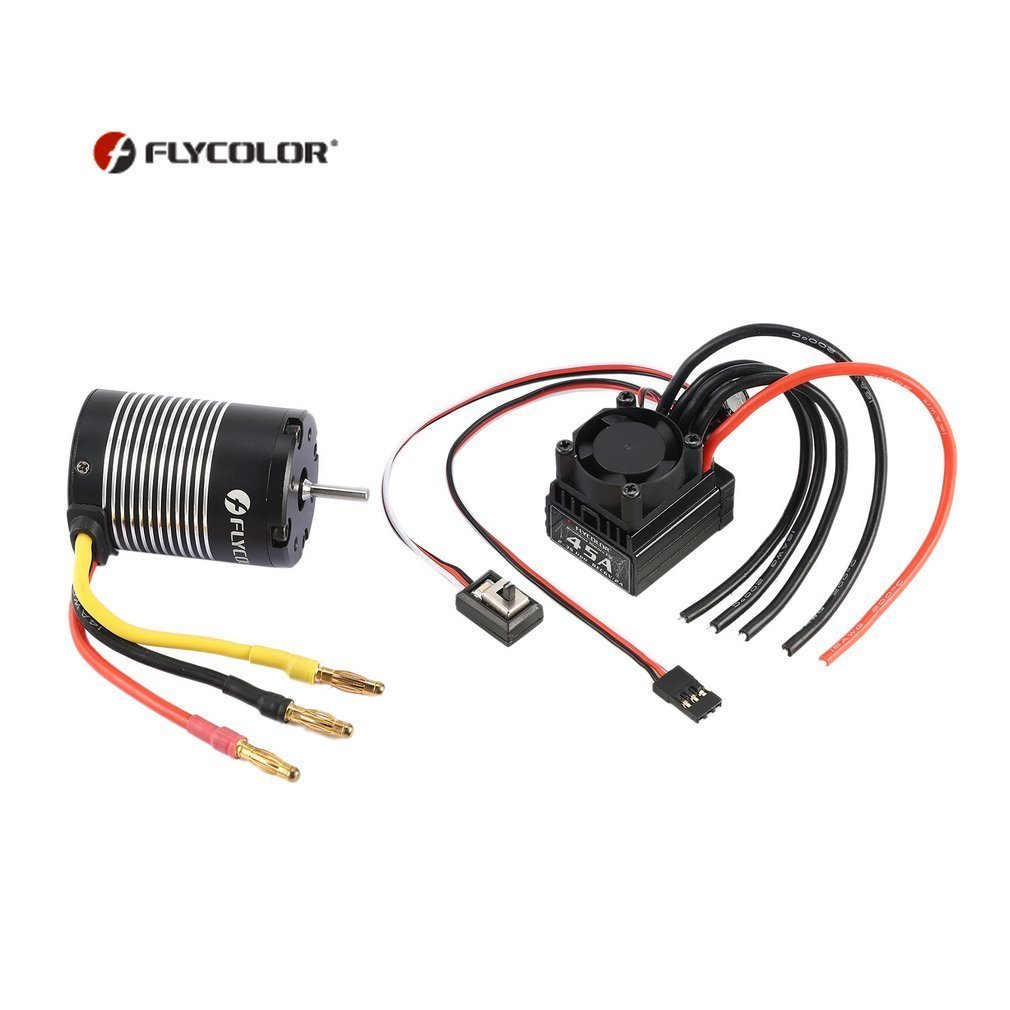 FLYCOLOR 2S-3S 3650 3000KV 4 Poles Brushless Sensorless Motor with 45A Brushless ESC Combo Parts Set for 1/10 RC Car Truck стоимость