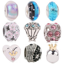 dodocharms Original Silver Color Charms Heart & Bow Magnolia Bloom CZ Crystal Beads For Pandora Bracelets DIY Pendant Jewelry(China)