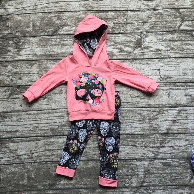 Осень одежда детская с длинным рукавом наряды новорожденных девочек балахон одежда дамаск череп наряды цветочные детская одежда бутик-наборы