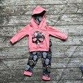 Ropa de otoño los niños de manga larga trajes de los bebés con capucha ropa damasco cráneo trajes floral ropa para niños boutique establece