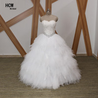 Feathers Unique Bóng Gown Wedding Dress Strapless Off The Shoulder Trắng Tulle Puffy Bridal Dress Với Pha Lê Vestido De Noiva