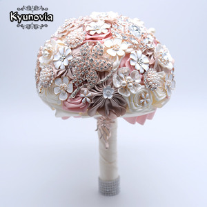 Image 4 - Kyunovia 絹の結婚式の花ラインストーンジュエリー赤面ピンクのブローチ花束ゴールドブローチ花嫁のウェディングブーケ FE93