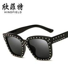 709ee3dd71de6 Hindfield Hip Hop Praça Quadro Rebite Óculos De Sol Das Mulheres Dos Homens  UV400 óculos de Sol Óculos Unisex Óculos Óculos Ocul.