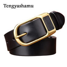 Mens Belt 2017 Cow Genuine Leather Luxury Strap Male Belts for Men black and brown Colors Vintage Pin Buckle Belt Man Pin Buckle