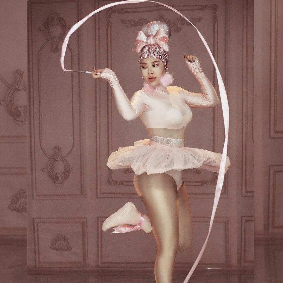 Mignon rose Mini robe de bal robe scène danse body femme chanteuse danse Costume discothèque anniversaire bal fête spectacle femmes tenue