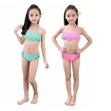 2PCS Set Lovely Baby Girls Split Summer Swimwear Kids Children Bow Swimsuit Bikini Set Swimsuit Swimming Clothes Beachwear 7-15T