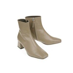 Image 2 - In vera pelle con cerniera punta quadrata tacchi alti stivali della caviglia delle donne del locale notturno di modo stivali partito vacanza elegante inverno scarpe L66