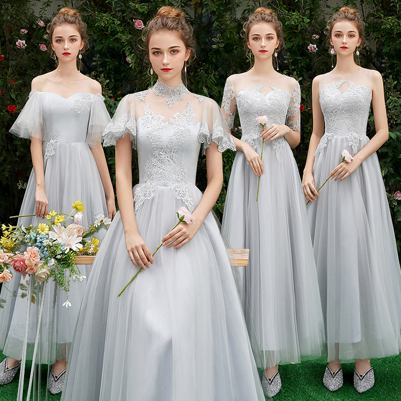 Beauty-Emily Lace   Bridesmaid     Dresses   2018 Long Plus Size for Women A-Line Half Sleeve Vestido da dama de honra