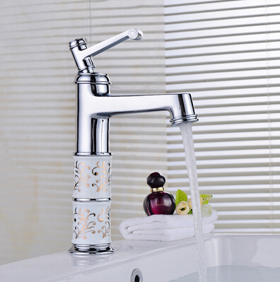 fashion high quality chrome finished cart carved basin faucet cold and hot single lever bathroom sink faucet water tap faucet free shipping high quality chrome finished brass in wall bathroom basin faucet brief sink faucet bf019