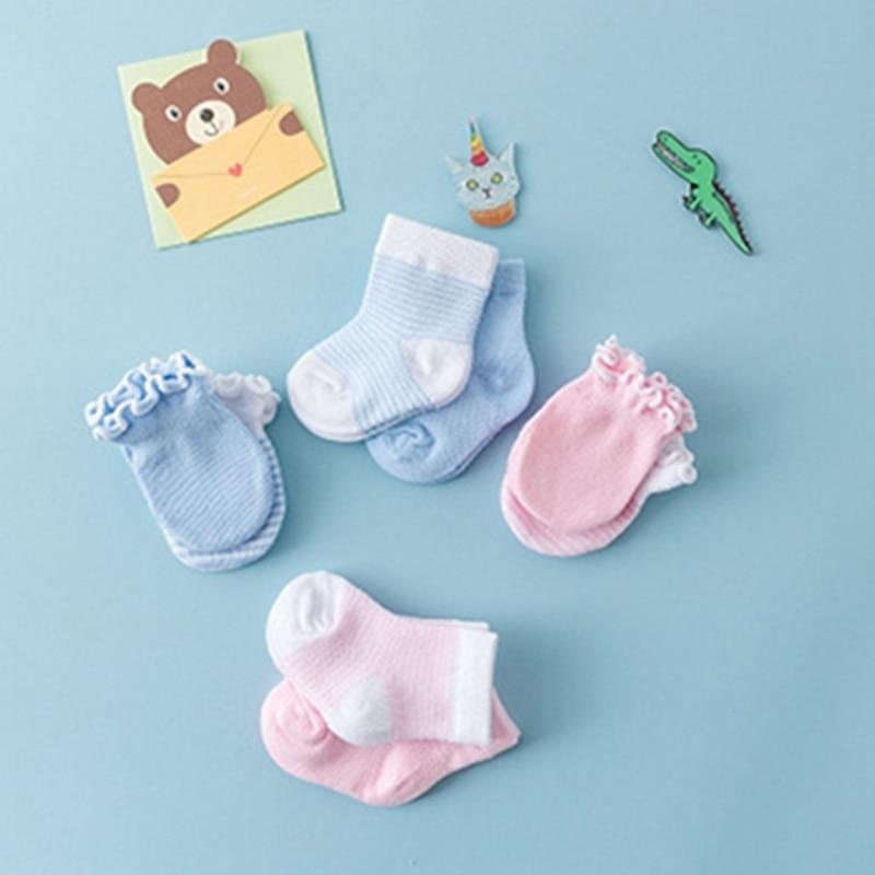 0-3 M Neugeborenen Baby Socken + Hand Abdeckung Babys Anti Scratch Prävention Hand Handschuhe Stripped Baumwolle Socken Für Baby Jungen Mädchen