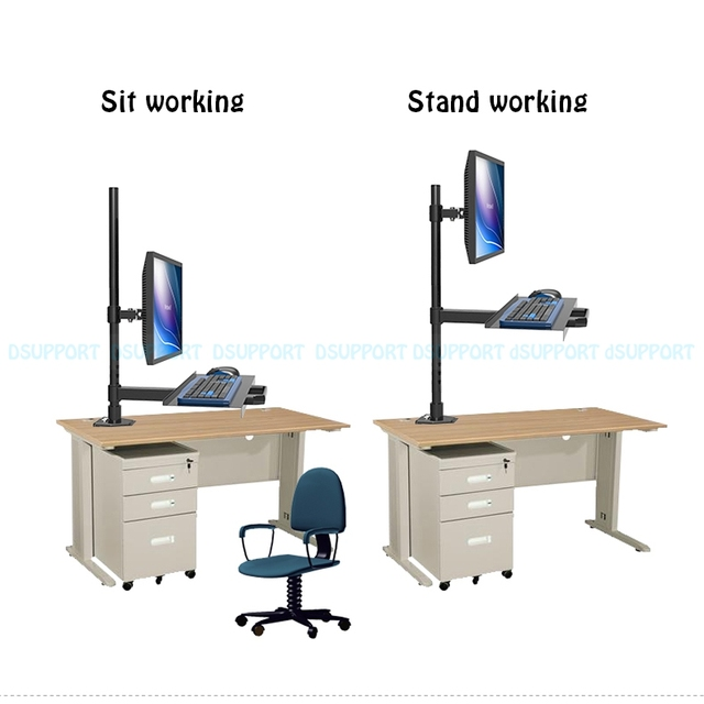Full Motion Wall Mount Ergonomic Sit Stand Workstation Pc Stand