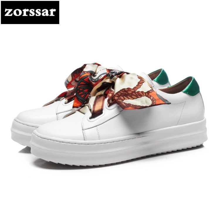 {Zorssar} 2018 women flats platform sneakers shoes Genuine Leather Female casual shoes Lace up flat Loafers women Creepers shoes vtota women genuine leather oxfords sneakers women white flat shoes spring platform shoes zapatos mujer lace up casual flats f93
