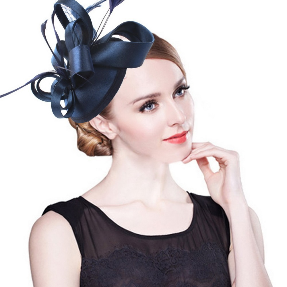 Fashion Feather Satin Fascinator Hat Hair Clip Women Cocktail Wedding Party  Bridal Hat Fascinator Ladies Dress Hair Headband 32b8ffa0110