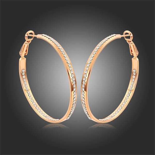 Gorgeous Rose Gold Color Large Circle Channel Pave Clear Crystal Hoop Earrings For Women Brilliant