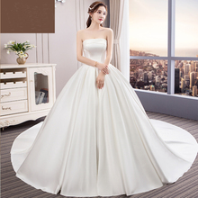 HIRE LNYER White Satin A-line Wedding Dresses 2019